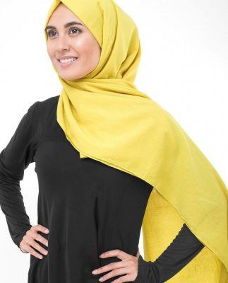 Cellery Yellow Gul Georgette Hijab5XA46a