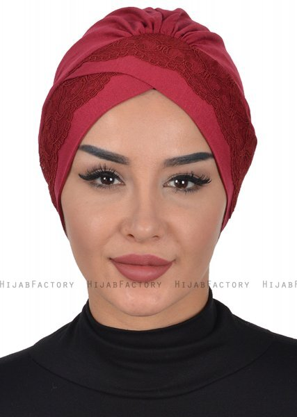 Molly - Turban Coton Dentelle Bordeaux
