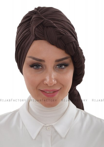 Theresa - Turban En Coton Marron - Ayse Turban