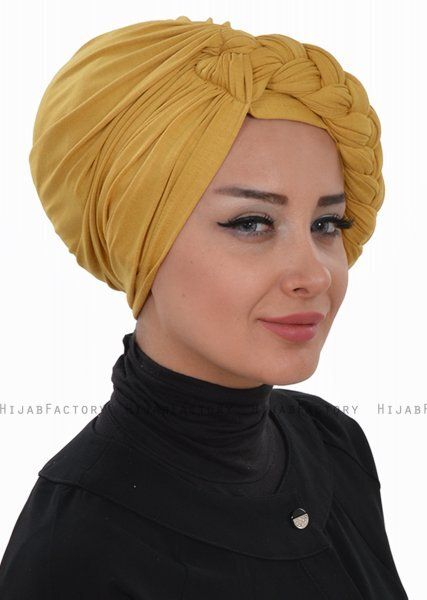 Theresa - Turban En Coton Moutarde - Ayse Turban