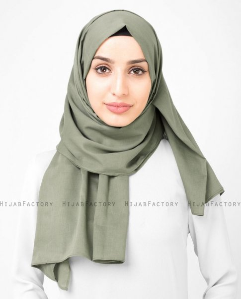 Vetiver - Khaki Bomull Voile Hijab Sjal InEssence Ayisah 5TA46a